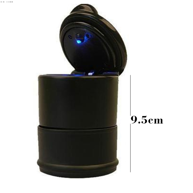 10 stkspartij mini led licht zwart auto asbak met led verlichting auto asbakken
