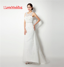 iLoveWedding Új Hot Sale Tulle esküvői ruhák Női Formális menyasszonyi ruhák gyöngyös Appliques Vestidos de novia 32239