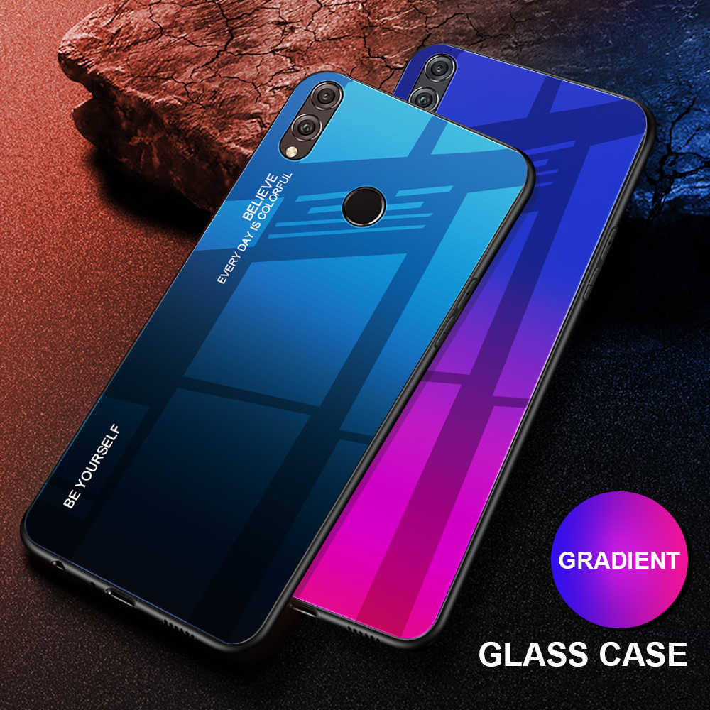 Gradient Phone Shell For Huawei Y9 Y6 Prime 2018 Y7 Prime 2019 Tempered Glass Case For Honor 7A RU 5.45 7C Pro 5.99 8X Cover