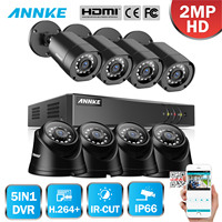 ANNKE 1080P CCTV Camera DVR System 8pcs Bullet and Dome IP66 Waterproof 2.0MP Cameras Home Video Surveillance Kit
