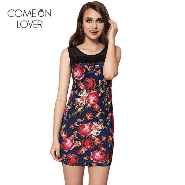 1b3da4b541eac Comeonlover Kapalı omuz dantel patchwork çiçek baskı elbiseler yaz plaj  stil güzel ucuz elbiseler kısa parti