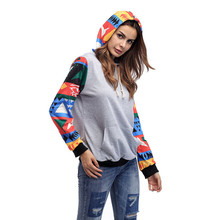 Japan Hooded Sweatshirts Patchwork Print Long Sleeve Autumn Lady Hoody Red Black Colorful Knit Cotton Drawstring Casual Hoodies hooded colorful stripe print long sleeve patterned hoodies