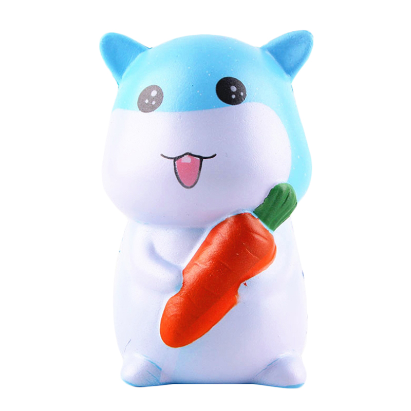 Jumbo Cute Carrot Hamster Squishy Simulated Animal Doll Slow Rising Bread Scented Squeeze Toy Stress Relief Fun For Kid Gift
