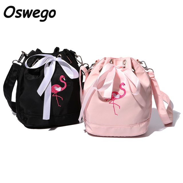 Hot Flamingos Embroidery String Bucket Bag Waterproof Nylon Women