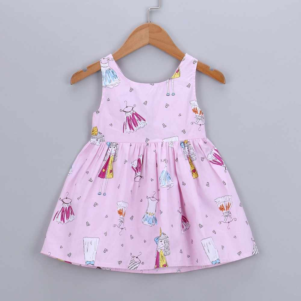 Toddler Kids Dresses Girls Cotton Casual Tops Sleeveless Heart Print Bowknot Summer Fashion Baby Girls Princess Sundress Tops