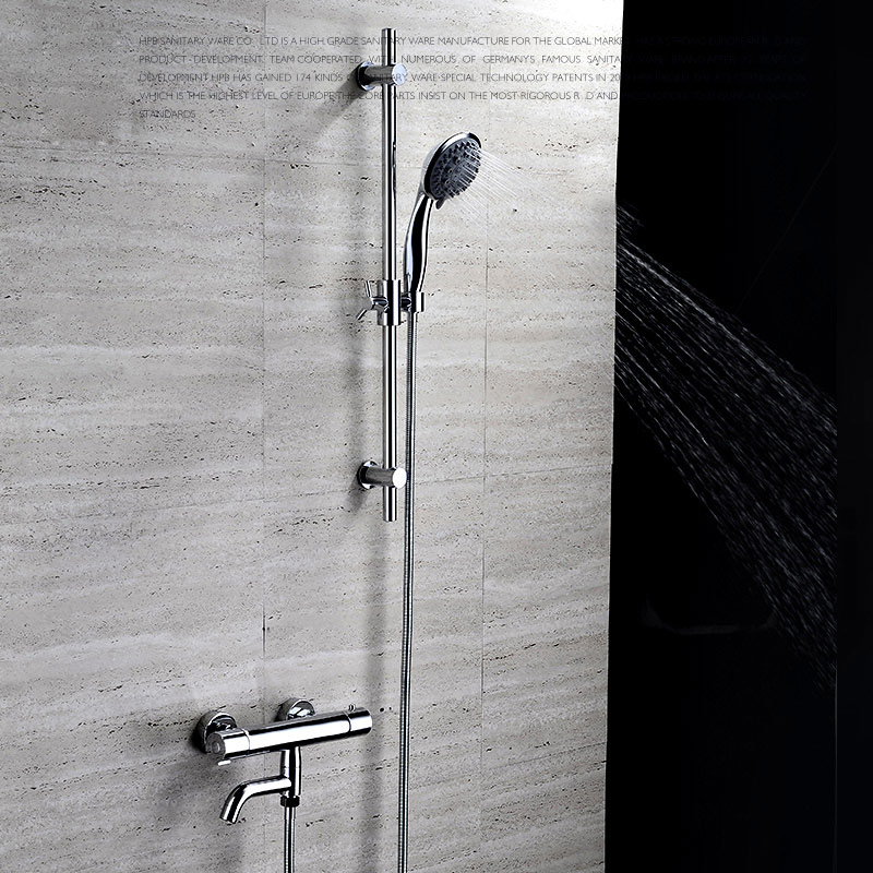 Shower Faucets Shower Copper Mixing Valve Thermostat: All Copper Thermostatic Faucet Shower Tap Set Water
