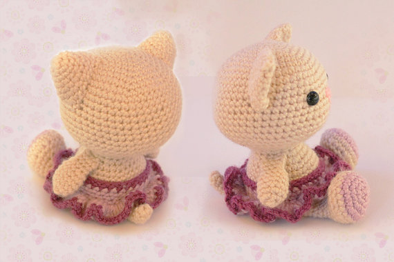 Cat Kitty Amigurumi Cat Knitted Stuffed animals doll toy baby shower rattle gift