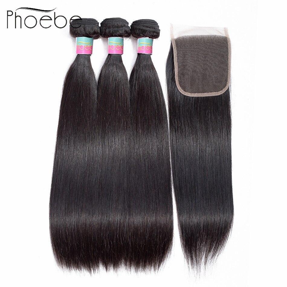 Phoebe 100% Human Hair Bundles With Closure Peruvian Straight Hair 3 Bundles With Closure Hair Extension Bundles Natural Color