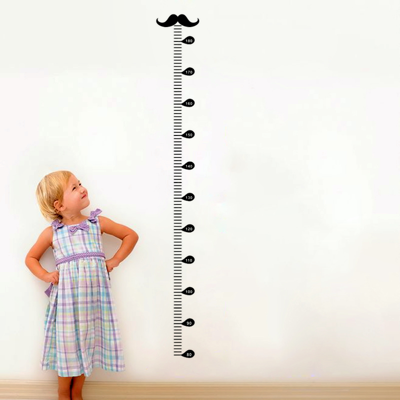 cartoon moustache growth chart wall art decals for kids rooms home decor diy wall stickers height measure pvc mural art