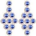 Cor da moda Jóias de Cristal Brincos Longos Big Geométrica Brincos Pendurados para As Mulheres Natal Presente Do Partido