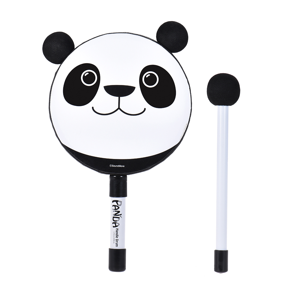 6in Panda Tambourine Hand hold Drum Educational Percussion Musical Instrument Toy Gift with Mallet for Baby Kids Children