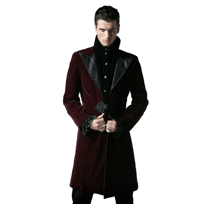 Gothic Court Fashion Mens Long Duster Coat Steampunk Autumn Winter High Collar Corduroy Jacket Thick Windbreakers