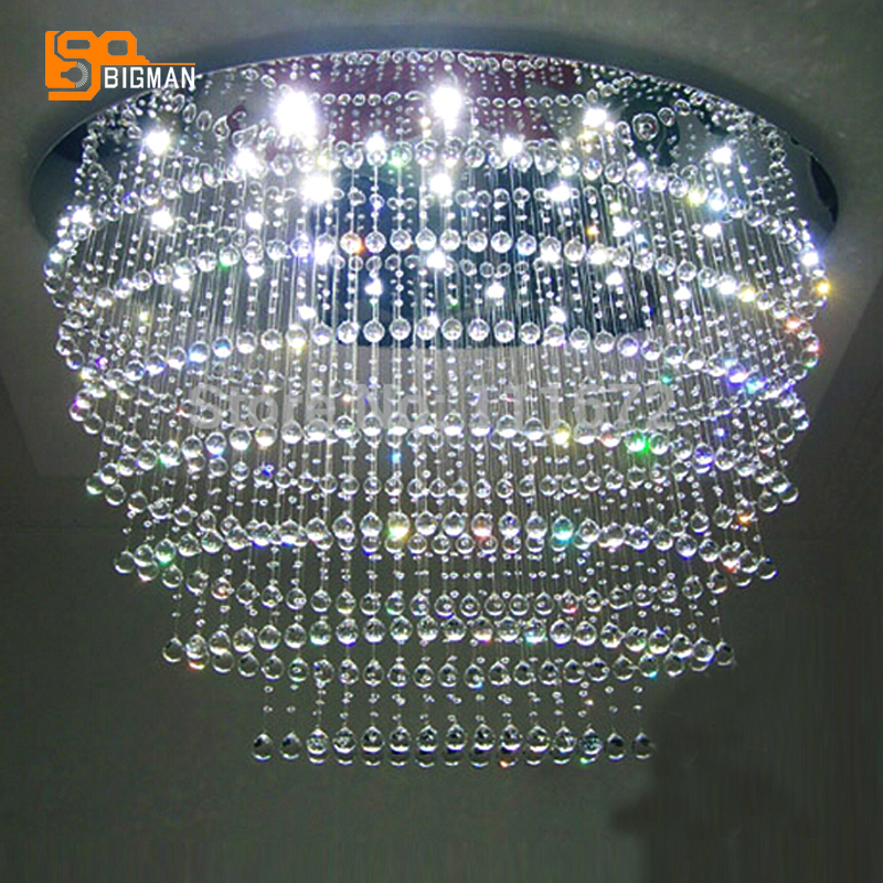 new oval large modern crystal chandeliers lustres hotel light crystal lamp length 120cmchina - Modern Crystal Chandeliers