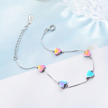 Charm Lovely Colored Heart Sterling Silver Bracelets For Women Korean Fashion Trendy Jewelry(China)