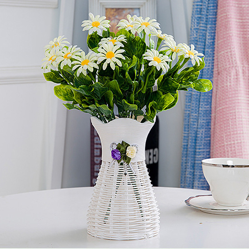 Купить с кэшбэком Decorative Artificial Fower Pot Plant Potted For Home Plastic Rattan Basket Room Decor