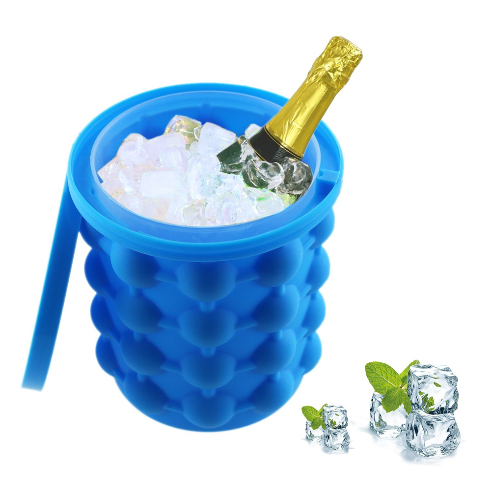 Ice Cube Maker Genie Saving Ice Ball Maker Bucket Party Drink Tub Silicone Trays Mold Kitchen Tools Refillable Bottles