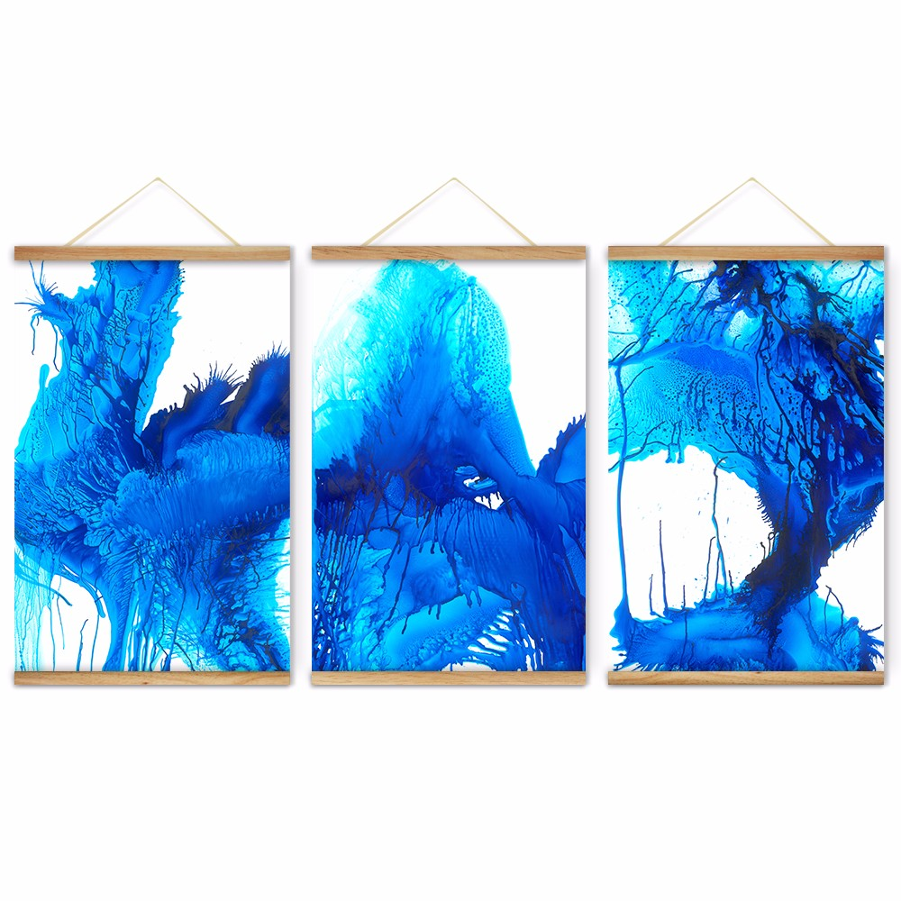 Cool Blue Paint Us 49 98 3 Pieces Dancing Color Cool Blue Decoration Wall Art Pictures Canvas Wooden Scroll Paintings For Living Room Ready To Hang In Painting