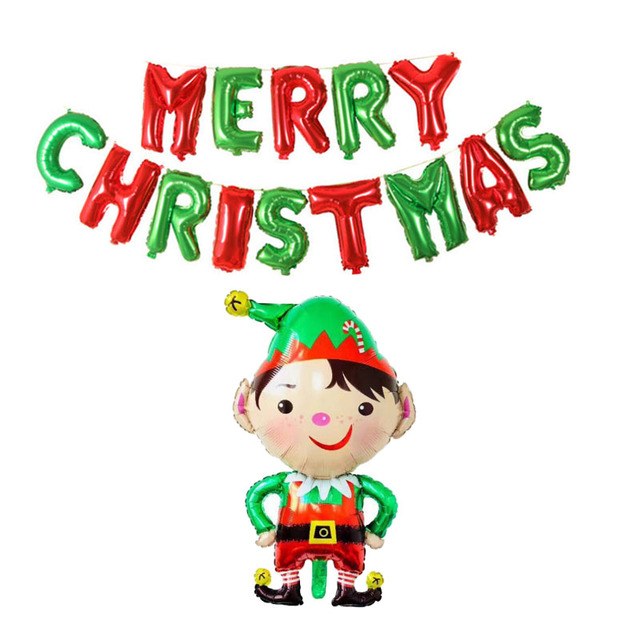 Christmas Party Images Cartoon.Us 3 95 14 Off Merry Christmas Letter Balloons Foil Cartoon Christmas Globos Alphabet Air Balls Christmas Party Decorations Happy New Year 2019 In