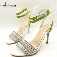 Mabaiwan Thời Trang Mùa Hè Phụ Nữ Sandals Trắng Thước Thiết Kế Váy Giày Phụ Nữ Gladiator Sandals Sandals Cao Gót Phụ Nữ Bơm Zapatos Mujer
