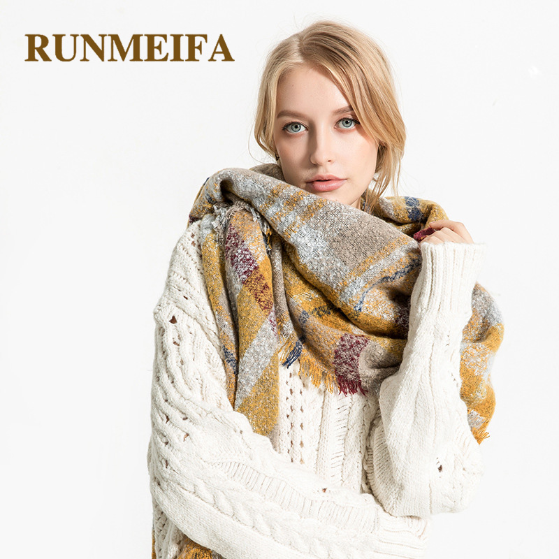 RUNMERFA New Fashion Plaid Winter Women   Scarves   Pashmina Wool Shawls Vintage Cashmere   Wraps   Female Echarpe Luxury Tartan Gifts