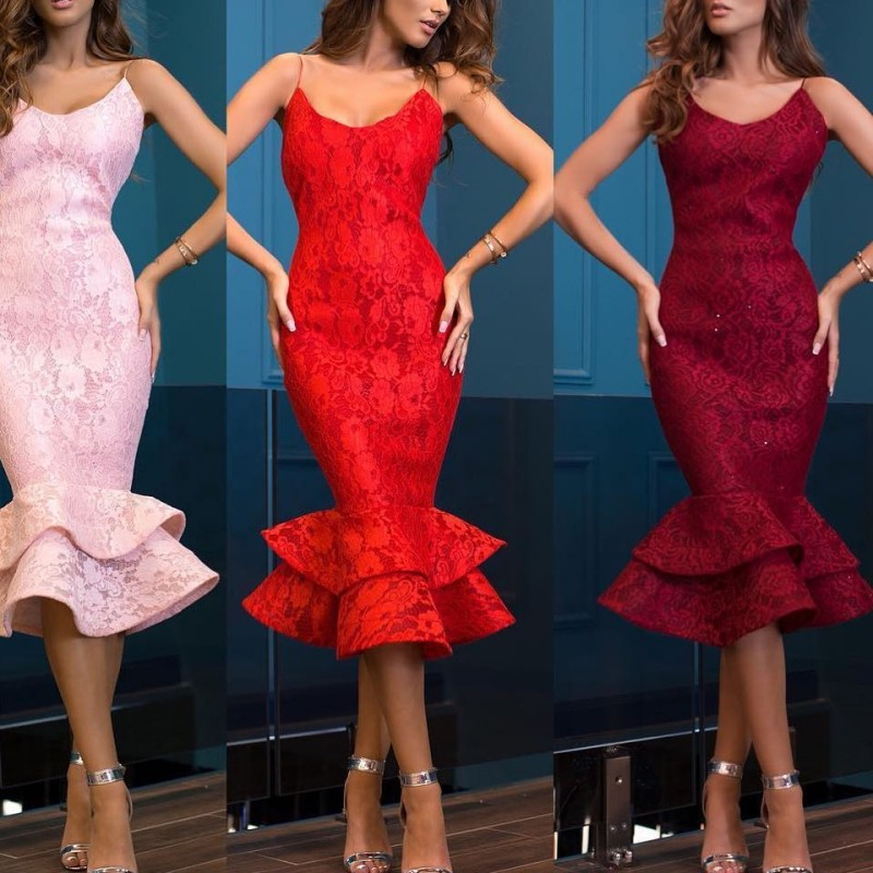 Sexy Mermaid Short   Cocktail     Dresses   2019 for Women Wear Straps Tea Length Zipper Pink Wine Red Elegant Party Prom Gowns