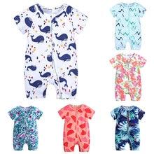 Zipper Style Baby Romper Cotton Short Sleeve Newborn