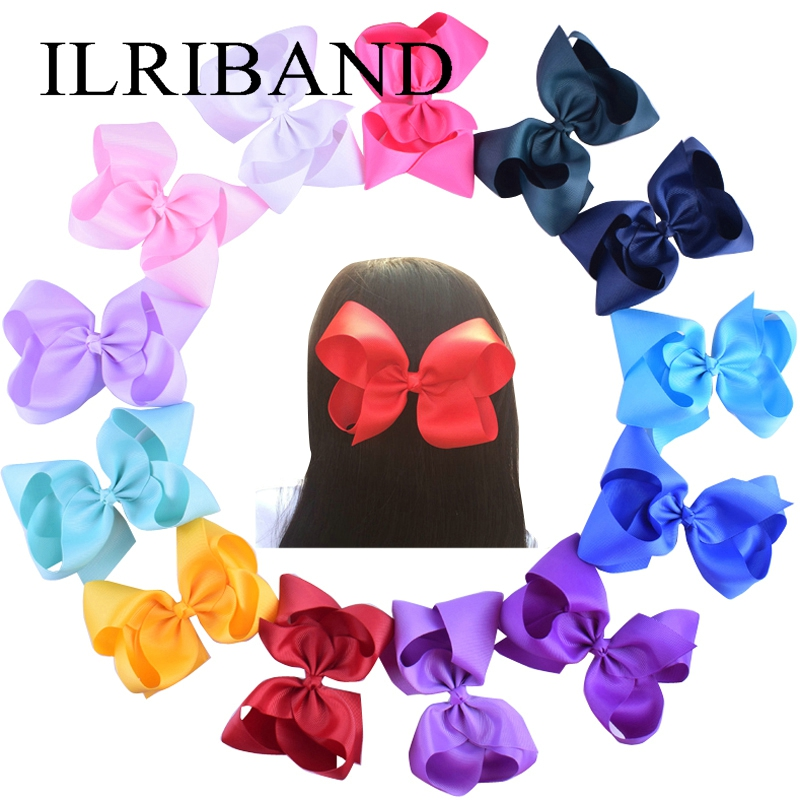 30pcs/lot Girls Large 6 Hair Bows Clip Children Kids 6 Inch Big Bow HairClips Hairpin Princess Boutique Headwear Baby Barrettes 10pcs lot halloween pumpkin hair clip girls hair accessories hairclips hairpins fashion women headwear barrettes party supplies