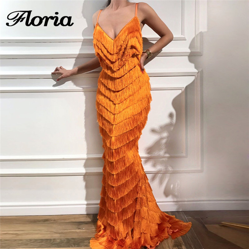 African New Mermaid Evening Dresses With Tassel 2018 Arabic Aibye Party Gowns Muslim Strapless Formal Prom Dress Robe de soiree