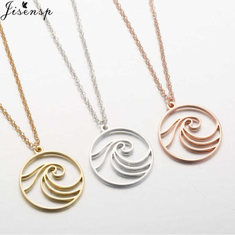Jisensp Surf Sea Pendant Necklace for Women Ocean Wave Necklace Mermaid Jewelry Link Chain Circle Necklaces Men Beach Gift
