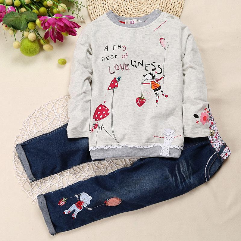 Children Girl Clothing Sets 2017 New Spring Autumn Casual Kids Suits Cartoon Long Sleeve Shirts Jeans 2pcs Girls Clothes autumn new cartoon elephant printed long sleeve children sweater boy girl pullover top shirts sweatshirt clothing