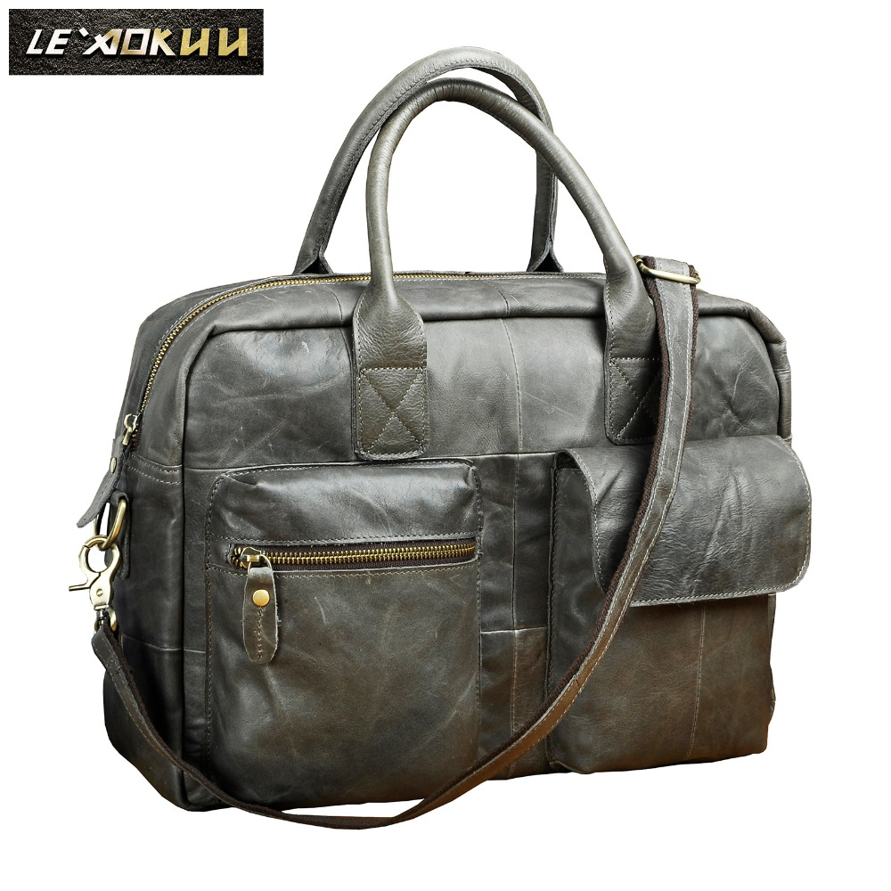 все цены на Real leather Men Fashion Handbag Business Briefcase Commercia Document Laptop bag Gray Male Attache Portfolio Tote Bag b331g онлайн