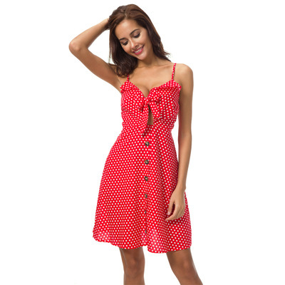Thoshine Brand Summer Style Women Dot Print Dress Sleeveless Spaghetti Strap Vestidos Female Bow Lace Up Dress Backless V-Neck
