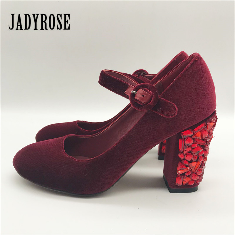 Jady Rose On Sale Wine Red Women Pumps Chunky High Heels Mary Jeans Rhinestone Gladiator Stiletto Wedding Shoes Woman guess shoes jeans pumps