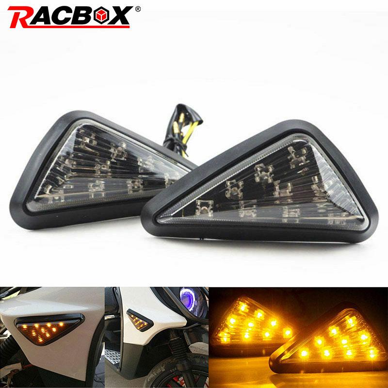 2pcs Motorcycle Turn Signal Smoke Triangle Flush Mount Turn Signal Indicators Amber LED Light Motorbike Refit Lamp Universal 12V