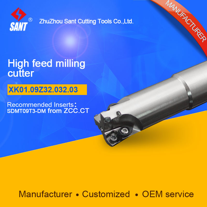 Suggested XMR01-032-G32-SD09-03 Indexable Milling cutter SANT XK01.09Z32.032.03 with SDMT09T3-DM carbide insert