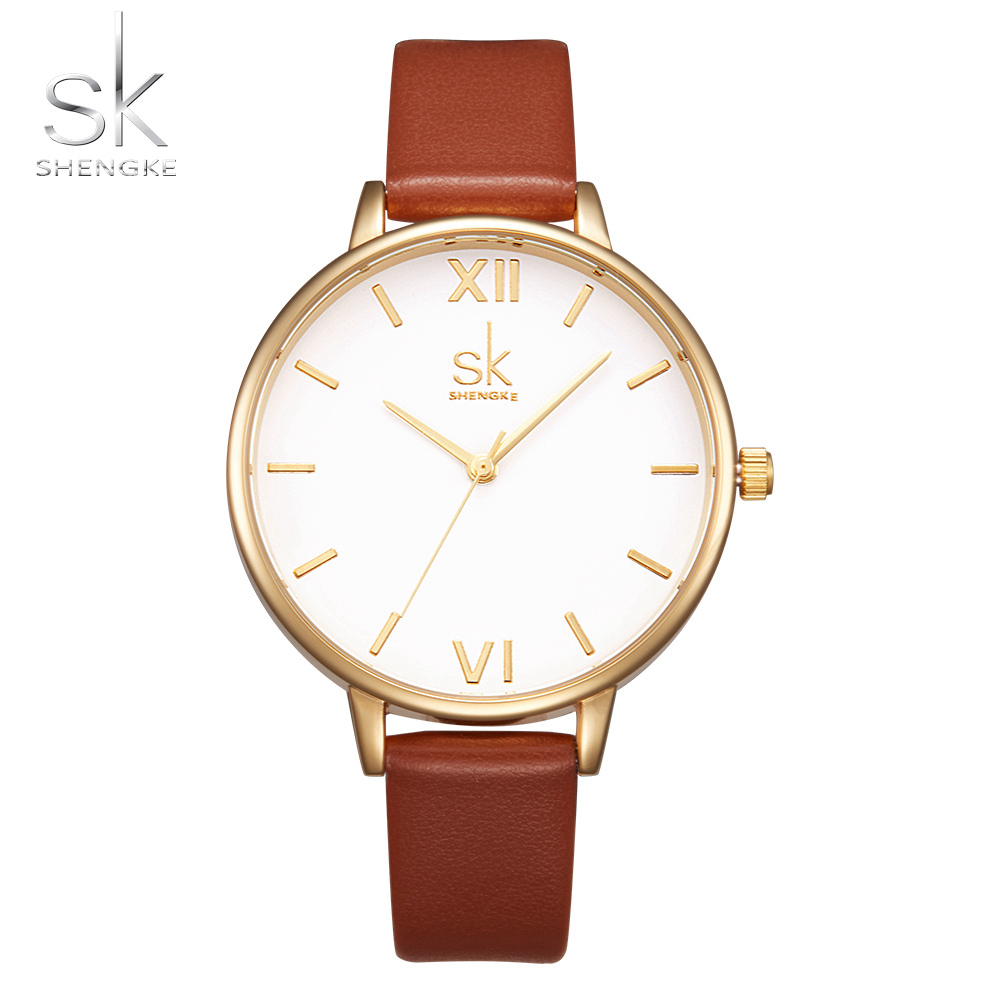 Shengke Brand Women Watches Simple Leather Wristwatch Lady Gold Luxury Dial Watches Mixmatch Relogio Feminino Brown Leather