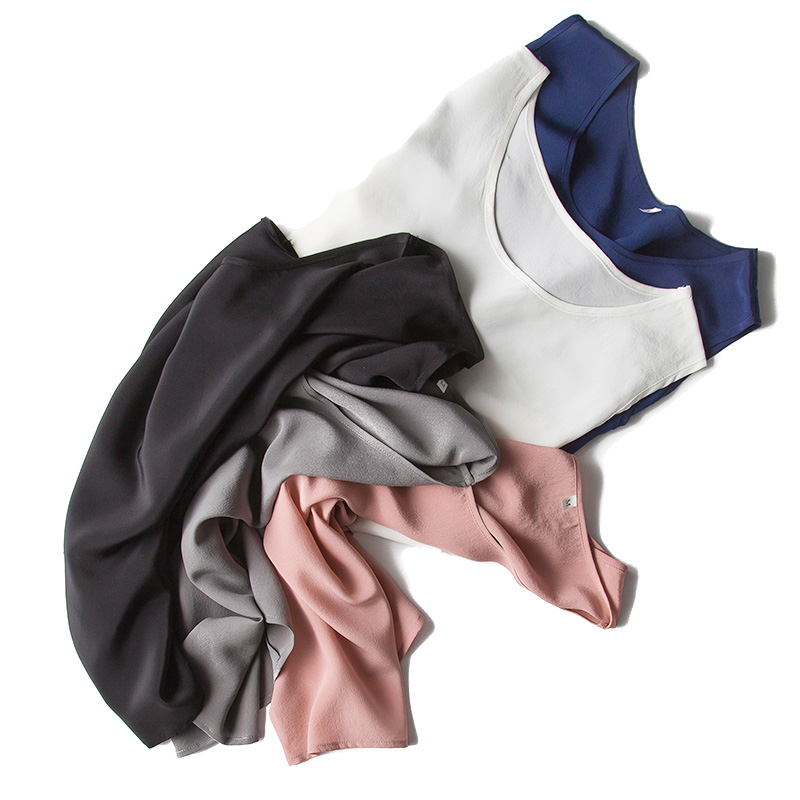 Camisa de seda sin mangas 100% camisa de seda natural Tanques de gasa - Ropa de mujer - foto 3
