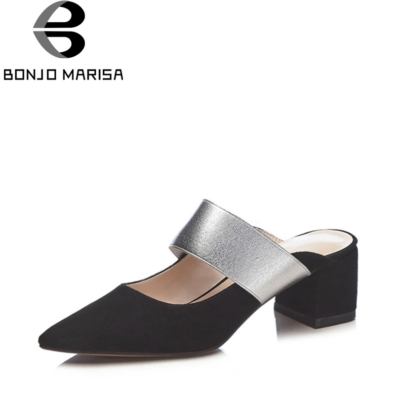 BONJOMARISA 2018 Summer Natural Kid Suede Mules Pointed Toe Pumps slip-on Large Size 34-40 Women Shoes With High Heels meotina brand design mules shoes 2017 women flats spring summer pointed toe kid suede flat shoes ladies slides black size 34 39