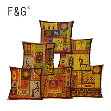 Miracille Square 18 Ethnic Africa Totem Printed Decorative Cushion Cover Chair Seat Car Outdoor Garden Pillowcase