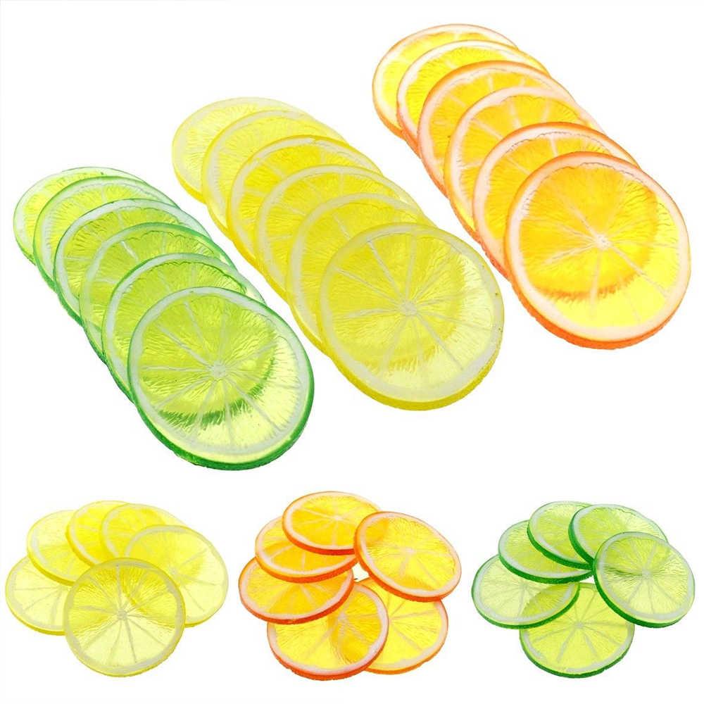10PCS Realistica Decorativa di Plastica Artificiale Fetta di Limone Complementi Arredo Casa Frutta Falso