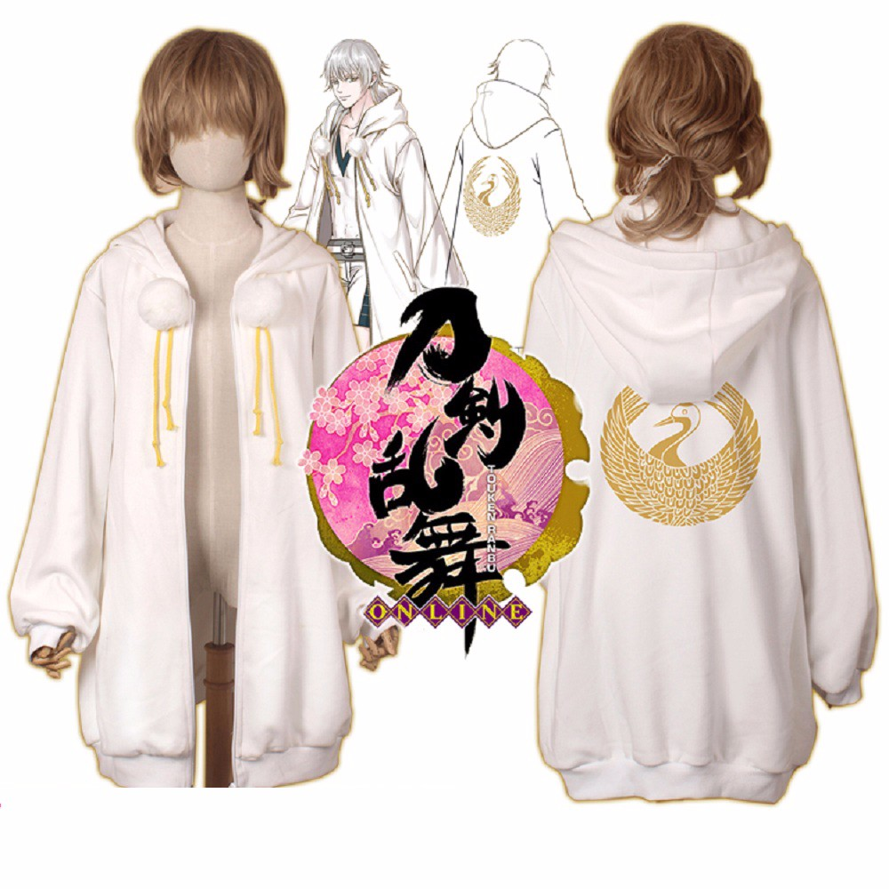 Anime Touken Ranbu Online Sweatshirts Cosplay Tsurumaru Kuninaga Jckets Cotton Coats Halloween Party Animation Hoodies