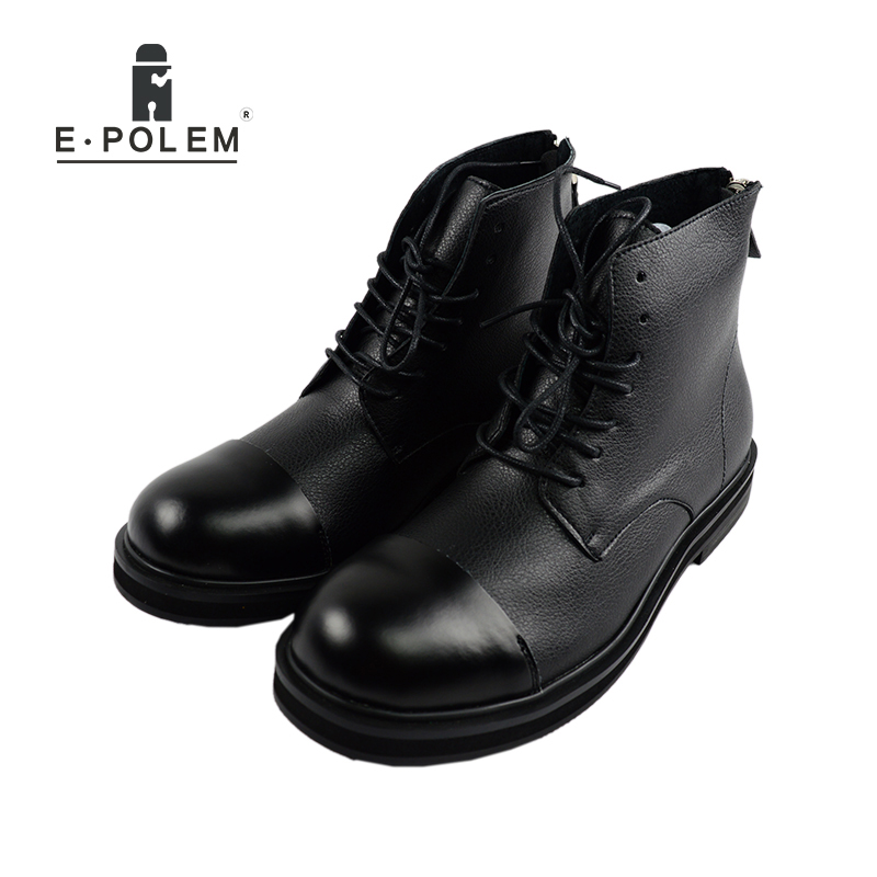 New British Style Vintage Round Toe Genuine Leather Boots Men Zipper&Lace Up High top Boots Heels Martin Male Ankle Casual Boots fashion british style men s genuine matte leather boot shoes casual lace up male martin ankle chunky booties homme s4472