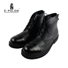 цена на New British Style Vintage Round Toe Genuine Leather Boots Men Zipper&Lace Up High top Boots Heels Martin Male Ankle Casual Boots