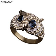 Fashion Brand Design New Classical Colorful Rhinestones Jewelry Blue Crystals Eyes Owl Ring For Women/ Men Jewelry(KA0005)