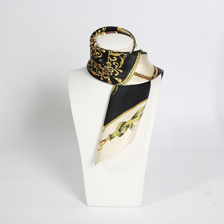 Chain Print Silk Scarf Office Lady Silk Scarf Black Elegant 100% Real Scarf Top Quality For Women Men Gentleman Pocket Scarf