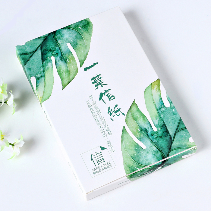 30 pcs/lot Creative alien postcard boxed leaf letterhead hand-painted envelope leaves card greeting card 30 pcs lot novelty leaves shape postcard greeting card christmas card birthday card gift cards