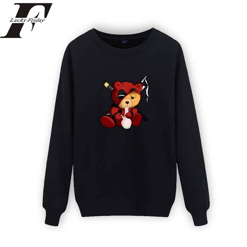 2018 Deadpool Smoking Teddy Design Black Sweatshirt Men Hiphop Streetwear Dead Pool Hoodies Sweatshirt Men/women Brand clothing