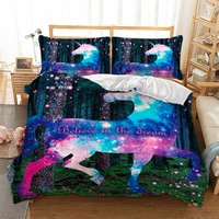 3D Digital Printing Unicorn Bedding Dreamy Unicorn Fantasy Stars Galaxy Bedding Set 100% Microfiber Rainbow Color Bed Linen Set