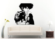 Man Anime Guy With Hand Gun Special Wall Decals Home Boys Bedroom Comics Decor Poster Murals Smirk Pointing Wallpaper Q-94