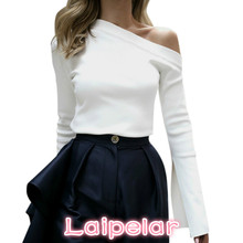 2018 Women Spring Blouses Vintage One Shoulde O Neck Long Sleeve Tops White Tee Shirt Womens Clothing Blusas Feminina Laipelar